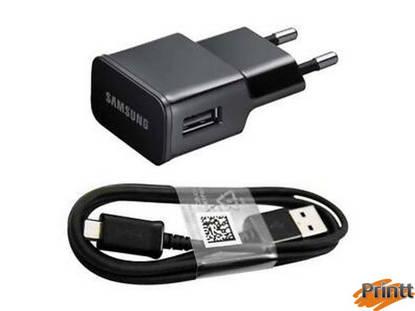 Immagine di Caricabatterie da rete samsung 2A + Cavo dati Samsung micro usb nero